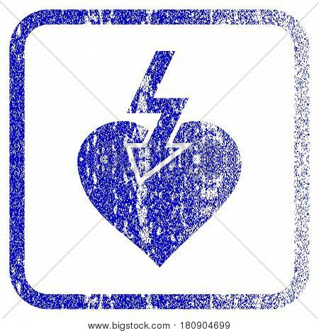 Heart Shock Strike textured icon for overlay watermark stamps. Blue vectorized texture. Flat vector symbol with dust design inside rounded square frame. Framed blue rubber seal stamp imitation.