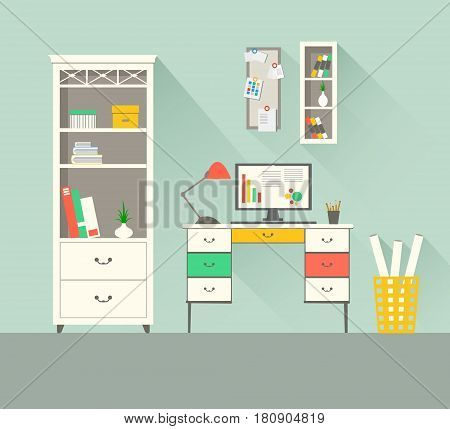 Interior design of home workspace with long shadows. Modern flat style illustration. EPS 10 vector file.