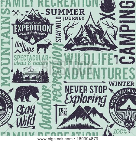 Retro styled typographic vector mountain and outdoor adventures seamless pattern or background. Tourism hiking and travel icons for tourism organizations outdoor events and camping leisure