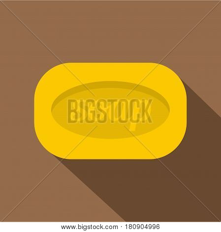 Yellow soap bar icon. Flat illustration of yellow soap bar vector icon for web