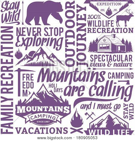 Typographic Vector Mountain And Outdoor Adventures Seamless Pattern Or Background