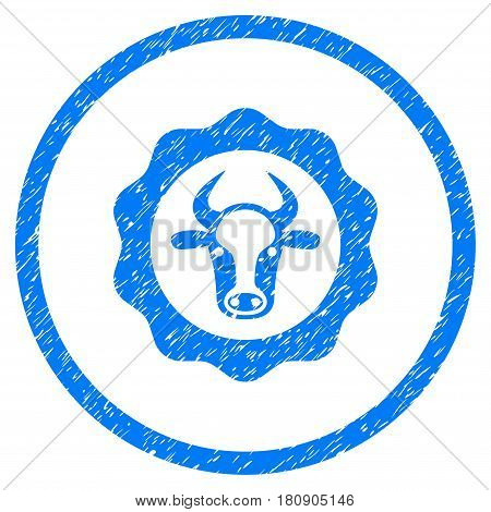 Beef Certificate grainy textured icon inside circle for overlay watermark stamps. Flat symbol with unclean texture. Circled vector blue rubber seal stamp with grunge design.