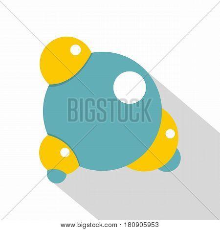 Blue molecule icon. Flat illustration of blue molecule vector icon for web