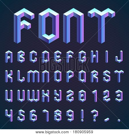 Full set of blue isometric alphabet and numbers