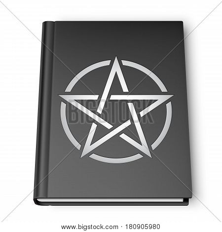 Black book with pentagram simbol isolated on white background