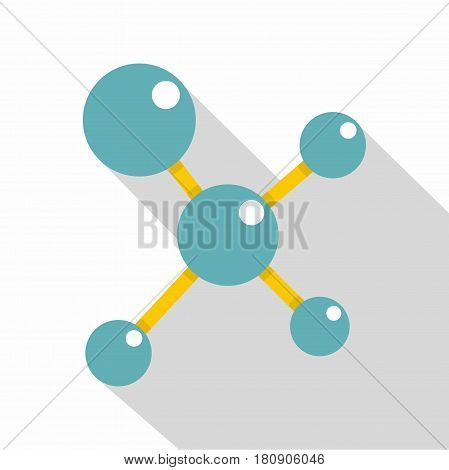 Blue molecule structure icon. Flat illustration of blue molecule structure vector icon for web