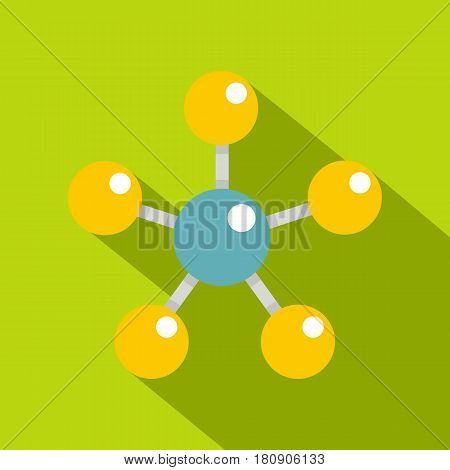 Colorful molecule structure dna icon. Flat illustration of colorful molecule structure dna vector icon for web