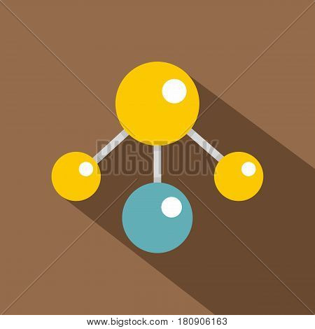 Yelllow and blue atomic structure icon. Flat illustration of yelllow and blue atomic structure vector icon for web