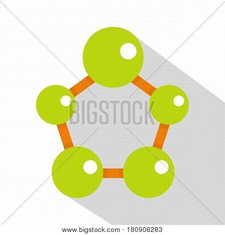 Abstract green molecules icon. Flat illustration of abstract green molecules vector icon for web
