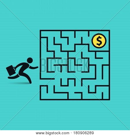 Businessman in labyrinth search money vector business concept illustration.