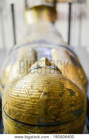 CAIRO, EGYPT - 07 JANUARY 2016: The artifacts in the Egyptian Museum in Cairo
