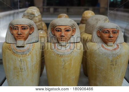 CAIRO, EGYPT - 07 JANUARY 2016: Artifacts in the Egyptian Museum in Cairo