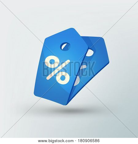 Sale tag icon in modern style. Blue price tag with percent sign. Beautiful discount and promotion template. Vector illustration