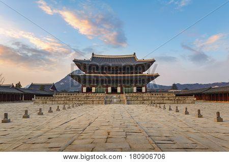 Gyeongbokgung Palace when sunset Seoul South Korea