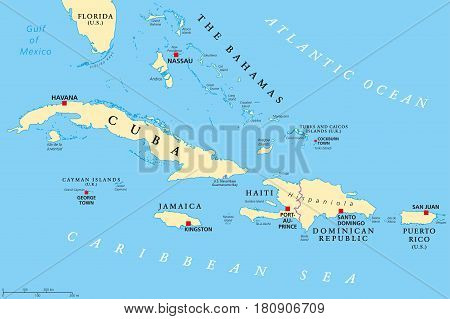 Greater Antilles political map. Caribbean islands. Cuba, Jamaica, Haiti, Dominican Republic, Puerto Rico, Cayman Islands, The Bahamas, Turks And Caicos Islands. Illustration. English labeling. Vector. poster