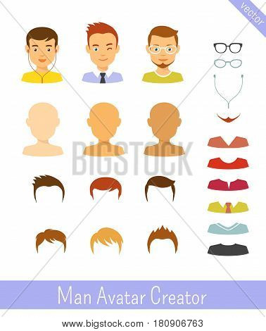 Man avatar creator. Editable vector icons set