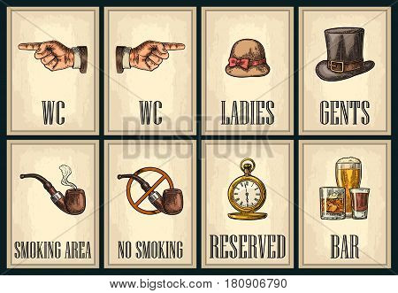 Set signboard. Pointing finger. Toilet retro vintage grunge poster for ladies cents. The Sign No Smoking in Vintage Style. Vector color engraved illustration on beige background. For bars cafe pub