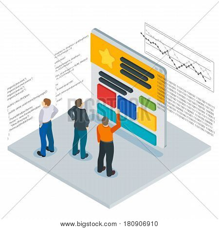 Banner in a flat 3d isometric style. Optimization of websites. People and the website page. Infographics and program code. People Web site development. Web site analytics service. Vector illustration
