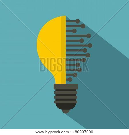 Lightbulb with microcircuit icon. Flat illustration of lightbulb with microcircuit vector icon for web