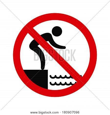 No jumping into water hazard warning sign. Vector symbol.