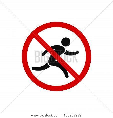 No run prohibition sign. Running prohibited vector illustration.