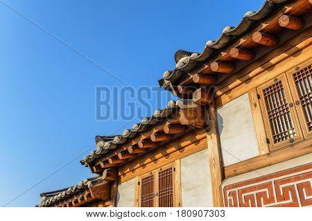 Traditional house at Bukchon Hanok Village Seoul South Korea