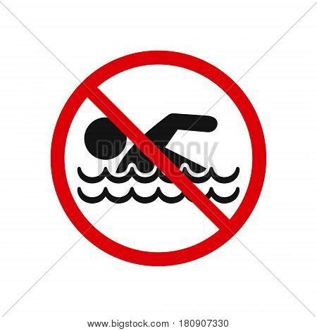 No swimming sign isolated on white background vector illustration.