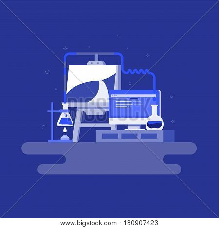 Vector illustration of workplace of creative person . Laboratory, programming and painting. Definition of career guidance concept. Science, creation and technology