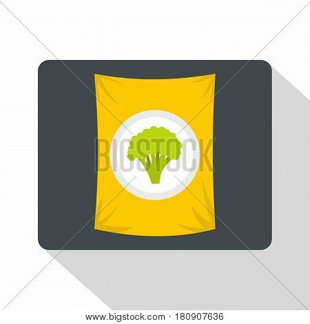 Packet of frozen broccoli icon. Flat illustration of packet of frozen broccoli vector icon for web