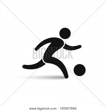 Soccer player icon outline symbol vector isolated running football player illustration.