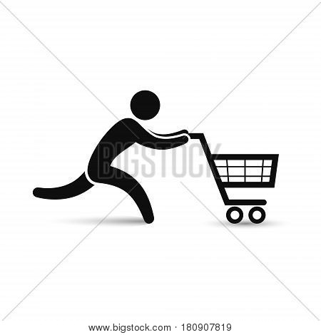Running man pushing shopping cart icon. Vector shopping sale discount illustration.