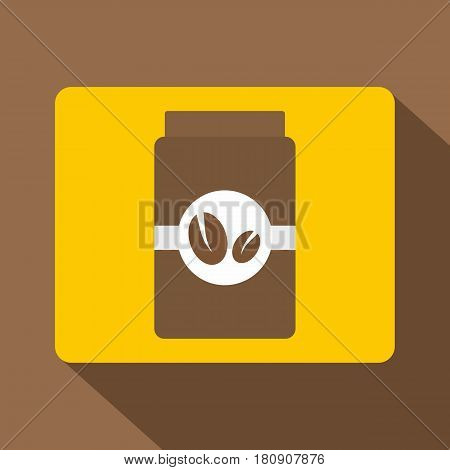 Brown coffee jar icon. Flat illustration of brown coffee jar vector icon for web