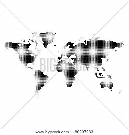 Vector abstract dotted world map isolated on white background