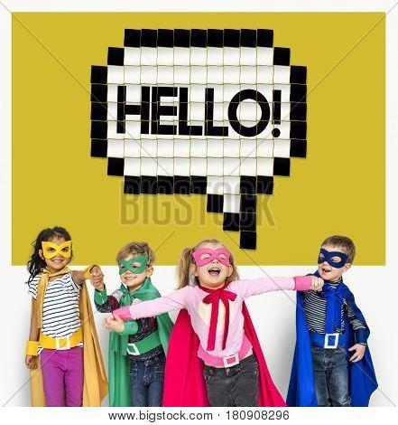 Kids Say Hello Hi Greeting Speech Bubble Graphic