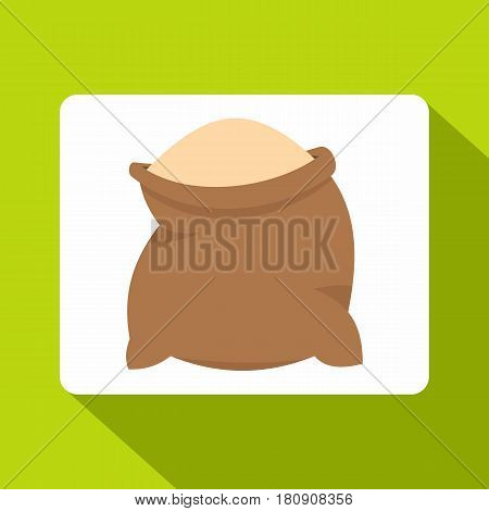 Linen sack full of flour icon. Flat illustration of linen sack full of flour vector icon for web