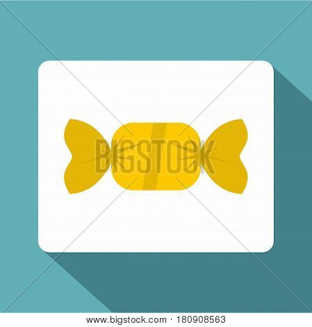 Candy in yellow wrap icon. Flat illustration of candy in yellow wrap vector icon for web