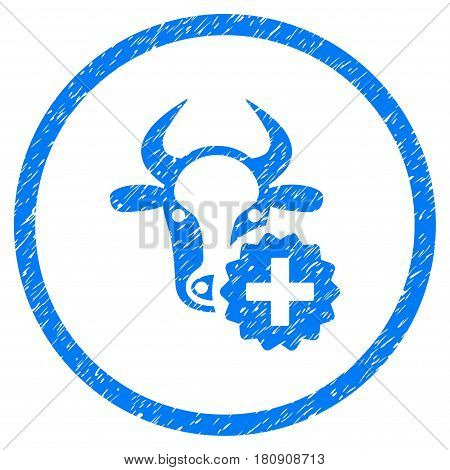Cow Create grainy textured icon inside circle for overlay watermark stamps. Flat symbol with unclean texture. Circled vector blue rubber seal stamp with grunge design.
