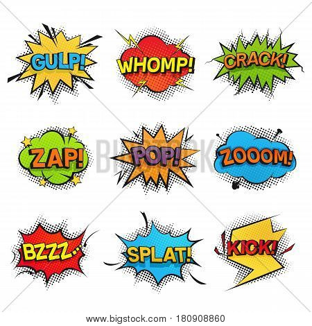 Comic funny speech bubbles collection. Set of vector sound effects, noise, rumble, buzzing, creak and crash. Colorful popart stickers designed in retro style for comic books, print or icons.