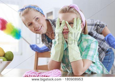 Girl Wearing Rubber Gloves