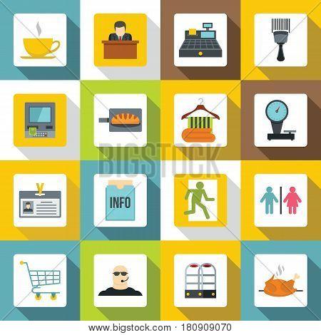 Supermarket navigation icons set. Flat illustration of 16 supermarket navigation vector icons for web