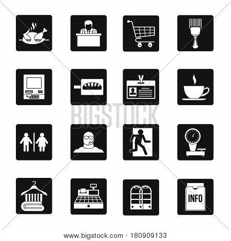 Supermarket navigation icons set. Simple illustration of 16 supermarket navigation vector icons for web