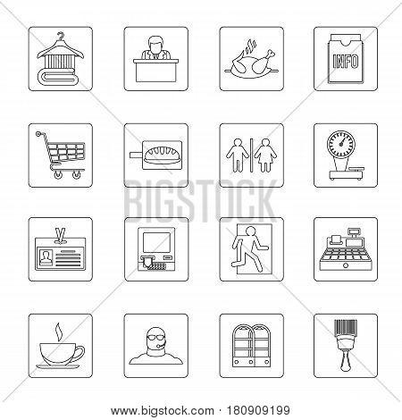 Supermarket navigation icons set. Outline illustration of 16 supermarket navigation vector icons for web