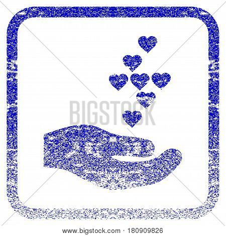 Love Hearts Offer Hand textured icon for overlay watermark stamps. Blue vectorized texture. Flat vector symbol with dust design inside rounded square frame. Framed blue rubber seal stamp imitation.