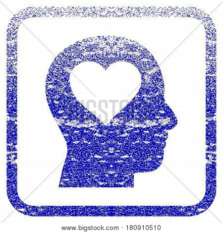Love In Head textured icon for overlay watermark stamps. Blue vectorized texture. Flat vector symbol with scratched design inside rounded square frame. Framed blue rubber seal stamp imitation.