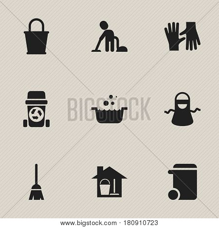 Set Of 9 Editable Hygiene Icons. Includes Symbols Such As Tub, Gauntlet, Bucket With Mop And More. Can Be Used For Web, Mobile, UI And Infographic Design.