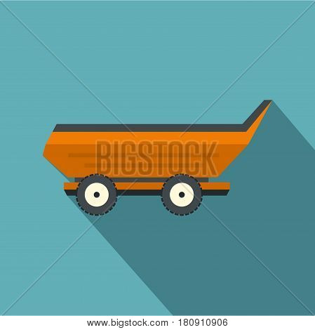 Orange car trailer icon. Flat illustration of orange car trailer vector icon for web