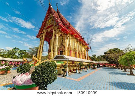 Ang Thong Thailand - December 31 2015: Beautiful Buddhist temple at Wat Muang. Popular Tourist destination in Ang Thong region