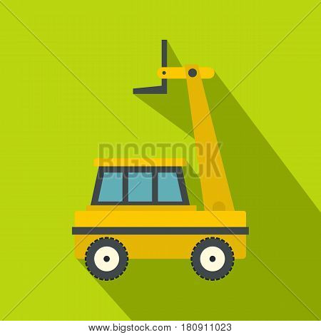 Yellow cherry picker icon. Flat illustration of yellow cherry picker vector icon for web