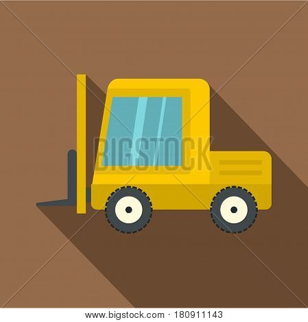 Yellow stacker loader icon. Flat illustration of yellow stacker loader vector icon for web