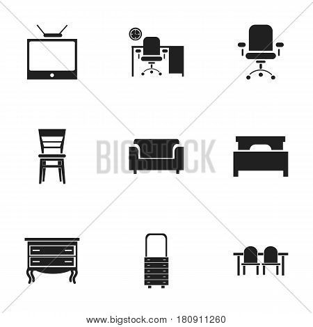 Set Of 9 Editable Interior Icons. Includes Symbols Such As Office, Bed, Ergonomic Seat And More. Can Be Used For Web, Mobile, UI And Infographic Design.